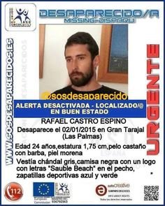 Ha sido localizado el joven desparecido en Gran Tarajal, Fuerteventura, Rafael Castro Espino, en ...