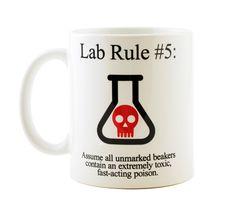 Lab Rule 5 Funny Science Chemistry ceramic coffee or tea mug by NeuronsNotIncluded on Etsy