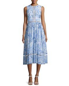 Sleeveless+Paisley-Print+Midi+Dress,+Sky+Blue/Multi+by+Cynthia+Rowley+at+Neiman+Marcus.