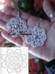 images attach d 1 129 958 Tatting Earrings, Tatting Jewelry, Lace Jewelry, Tatting Lace, Shuttle Tatting Patterns, Needle Tatting Patterns, Crochet Earrings Pattern, Crochet Bracelet, Needle Tatting Tutorial