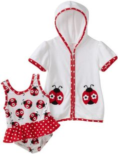 Kids Headquarters Baby-girls Infant Ladybug Swimwear with Cover Up $27.00