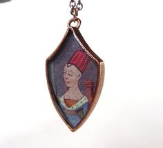 Medieval Lady Manuscript Necklace Copper Dagger by Synestheticon Shop (formerly LIMINALIA).