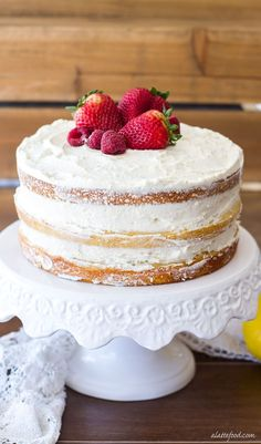 This Berry Vanilla Naked Cake is sweet vanilla cake swirled with a homemade berry puree and frosted with the dreamiest lemon whipped cream! This cake is light, fluffy, and the prettiest cake for sprin (Vanilla Cake) Cupcakes, Cupcake Cakes, Cookie Cakes, Slow Cooker Desserts, Just Desserts, Delicious Desserts, Easter Desserts, Cupcake Recipes, Dessert Recipes