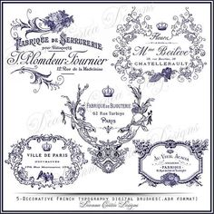 New Decorative French Typography Digital Brushes ABR format Instant Download #lavender