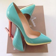 Christian Louboutin ~ Patent Pumps in Pastel Coral, Yellow and Aqua