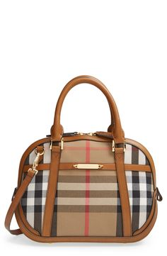 The perfect travel companion | Burberry house check & leather satchel.