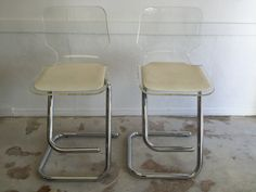 Pair of Vintage Lucite Bar Stools by SoAkiba on Etsy