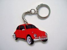 Retro Red VW Beetle Car Shape Keyring