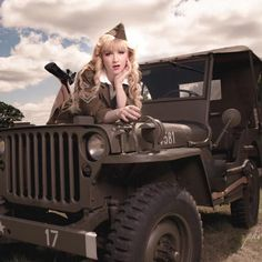Here is a styled vintage image of a Willys Jeep and a Beautiful Pin Up model in Army uniform sitting on the bonnet. Approximate sizes Mount H x W Image H x W Model:- Rosie Lea Willys Wagon, Jeep Willys, Jeep Concept, Jeep Wave, Army Uniform, Pin Up Models, Limited Edition Prints, Vintage Images, Pin Up Girls