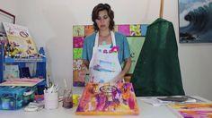 Cuadro abstracto con fondo muy colorido y recortes de papel barrilete!!!