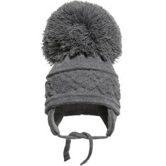 6224573bd93 Satila of Sweden grey soft knitted hat with a cable knit diamond design and large  pom