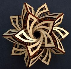 """""""Frabjous"""" sculpture made of aspen wood (free download available to make one out of paper!)"""