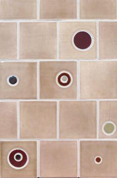 "Mercury Mosaics | 4""x4"" Bubble Pierced Field Tile - 822 Mocha Cream / Bubbles - 136 Victorian Red, 65 Amber, 1050 Oregano, 553 Bronze"