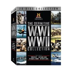 Definitive WWI & WWII Collection (DVD) http://www.shophistorystore.com/definitive-wwi-wwii-collection-dvd/details/117389617?cid=social-pinterest-m2social-product&current_country=US&ref=share&utm_campaign=m2social&utm_content=product&utm_medium=social&utm_source=pinterest $99.98