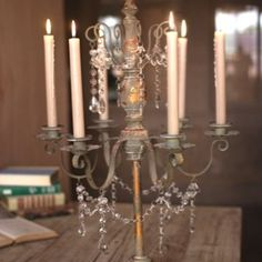 Distressed Candelabra With Crystal Beads 1
