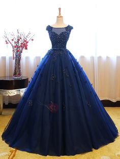 Buy Dark Blue Tulle Lace Beads Ball Gown Open Back Sweet 16 Dress, Quinceanera Dresses uk in uk.Shop our beautiful collection of unique and convertible long Prom dresses from PromDress.uk,offers long bridesmaid dresses for women in the UK. Sweet 16 Dresses, Elegant Dresses, Pretty Dresses, Cheap Quinceanera Dresses, Quincenera Dresses Blue, Quinceanera Party, Vintage Ball Gowns, Marine Uniform, Ball Gown Dresses