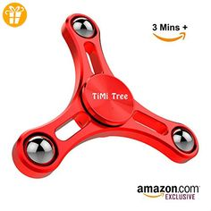Tri Spinner Fidget Toy, New Metal Hand Spinner Updated Long Spin Time with Aluminum Design, Balance ball and Bearing Cover – by TiMi Tree (Red) Hand Spinner, Cool Fidget Spinners, Fidget Toys, Aluminium, Spinning, Bear, Angst, High, Metal