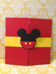 Mickey Gatefold Birthday Invitations #mickeymouse # Mickey #invitations #kidsinvitations #birthdays #invitation To place an order visit me or email me at: Paperdivainvitations.etsy.com Paperdivainvitations@yahoo.com