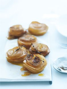 caramelised onion and potato stacks