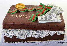 Pastry Palace Las Vegas - Birthday Cake #1052 – Gucci Dollars. Quilted Gucci box with logo and signature red and green ribbon - oh, and a whole bunch of cash, too!