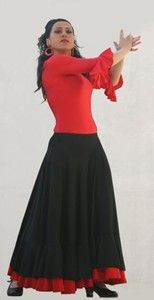 Ladies Spanish Flamenco Dance Skirt, Double Frill