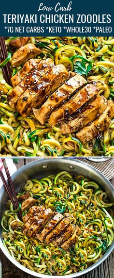 These Zucchini Noodles with Teriyaki Chicken are an easy keto dinner recipe with all the delicious flavors of your favorite takeout dish! This simple Asian inspired recipe is low carb, sugar free and ready in only 30 minutes! Zucchini Noodle Recipes, Chicken Zucchini, Healthy Zucchini, Zucchini Lasagne, Simple Zucchini Recipes, Zucchini Spirals Recipes, Low Carb Zucchini Recipes, Zucchini Cake, Low Carb Recipes