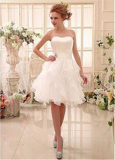 Lovely Satin & Organza Strapless Neckline A-Line Wedding Dresses