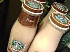 Recipe for Starbucks Mocha Frappuccino Coffee Drink!!! I make this recipe and it is very good! Simple ingredients and tastes just like the real thing! 1.5 - 2 cups strong brewed coffee, two Tbsp cocoa, half cup sugar,(I use less),5 1/2 cups milk and 1/2 cup whole cream. I refill the starbucks bottles and keep them in our fridge for my man!