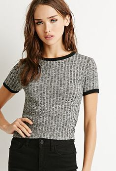 Ribbed Knit Ringer Tee $10.90 at Forever 21  http://www.forever21.com/Product/Product.aspx?BR=f21&Category=whatsnew_app&ProductID=2000131221&VariantID=044