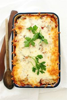 Polenta, Sausage and Spinach Casserole / Bev Cooks @bevweidner