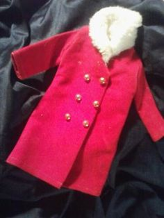 VINTAGE BARBIE DOLL CLOTHING. PHOTON$MART$, FREE SHIPPING, RED COAT