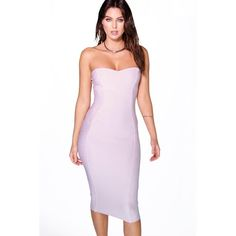 Boohoo Night Gia Bandeau Bandage Midi Bodycon Dress ($35) ❤ liked on Polyvore featuring dresses, violet, sequin party dresses, bodycon dress, maxi dress, cocktail party dress and white bodycon dress