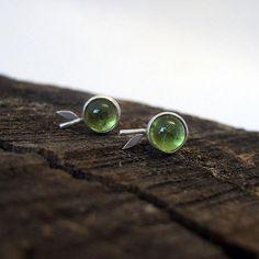 Handmade Sterling Silver, Sterling Silver Earrings, Silver Jewelry, Peridot, Stud Earrings, Artemis, Silver, The Moon, Bijoux