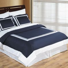 Navy White Hotel Queen Duvet Style Comforter Set Wrinkle Resistant Egyptian Cotton   FREE SHIPPING