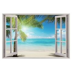3D Sunshine Beach Window View Removable Wall Art Stickers Vinyl Decal... ❤ liked on Polyvore featuring home, home decor, wall art, beach wall art, vinyl wall art, beach scene wall art, vinyl window decals and window decal stickers