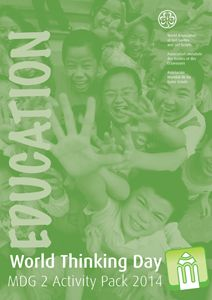 "WAGGGS' activity pack for 2014 World Thinking Day provides great background information and activities to help your Girl Scouts learn how ""Education opens doors for all girls and boys"""
