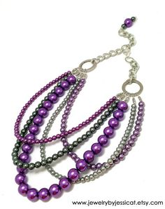 "It's my most popular color combination for J by JT....purples and silvers! It's a 5-strand ""Classic Collection"" with all glass pearls of various sizes. So versatile all year round!  CLASSIC Statement Necklace Purple Lavender by JewelryByJessicaT,"