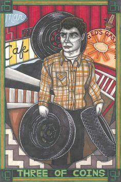 Twin Peaks Tarot Ed Hurley postcard PRINT by MaiafirePrints