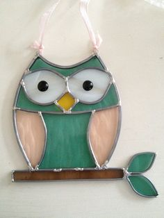 Owl stained glass sun catcher.