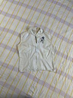 TANGERINE BUTTON Up TOP Vintage 90 Woman Stretchy Shirt Polka Dot Jersey Button Up Shirt sz 42