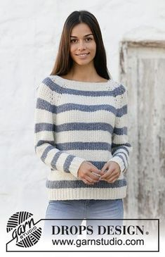 Sjøbris / DROPS - free knitting patterns by DROPS design Knitted sweater with raglan and stripes in DROPS Sky. The piece is worked top down. Sizes S - XXXL. Record of Knitting Y. Jumper Knitting Pattern, Knitting Patterns Free, Knit Patterns, Free Knitting, Drops Patterns, Free Pattern, Drops Design, Crochet Shawl, Knit Crochet