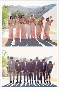 long peach bridesmaids dresses, and light gray groomsmen #CupcakeDreamWedding