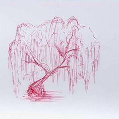 How to Draw a Wheeping Willow Tree - Drawing and Art Tree Tattoo Designs, Tattoo Tree, Tattoo Ideas, Deer Tattoo, Raven Tattoo, Tattoo Ink, Arm Tattoo, Sleeve Tattoos, Willow Tree Tattoos