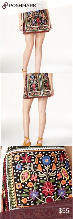 Embroidered Mini Skirt Black and Multi Color - A-Line silhouette, cotton, embroidery: rayon; lining: polyester. Lined, hits at thigh. Imported. Karen Fair Child Skirts Mini