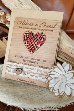 This wooden wedding invitation by AmazingWoodCraft via etsy is laser cut and engraved from cherry wood. Would be a treasured keepsake. #woodeninvitation #weddinginvitations