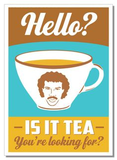 Hello? Is it tea you're looking for? Sums up my sense of humour.