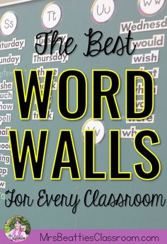 Word walls are a very important part of every elementary classroom! This is a round-up of ideas for making your word wall interactive and engaging - a word wall your students will actually use! wall ideas The Best Word Walls For Every Classroom Classroom Word Wall, Future Classroom, Word Wall Kindergarten, Teaching Kindergarten, Interactive Word Wall, Classroom Organization, Classroom Ideas, Classroom Design, Seasonal Classrooms