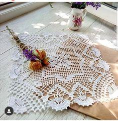 Crochet Lace Edging, Crochet Squares, Filet Crochet, Crochet Flowers, Crochet Tablecloth, Doily Patterns, Ribbon Embroidery, Doilies, Crochet Necklace