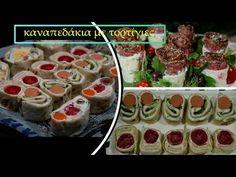 καναπεδάκια με τορτίγιες για μπουφέ- ροδέλες & τριανταφυλλάκια CuzinaGias - YouTube Party Snacks, Mashed Potatoes, Sushi, Ethnic Recipes, Youtube, Food, Savory Snacks, Whipped Potatoes, Appetizers For Party