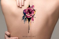 Destiny Melting Watercolor Pink Floral Rose Temporary Tattoo – MyBodiArt
